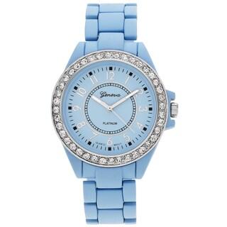 Geneva Platinum Women's Rhinestone Bezel Link Watch