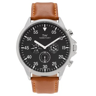 Territory Men's Round Face Polished Bezel Faux Leather Strap Watch