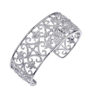 Sterling Silver Diamond Accented Cuff Bracelet (H-I, I3) by Ever One
