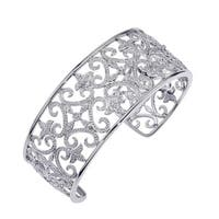 Sterling Silver Diamond Accented Cuff Bracelet by Ever One