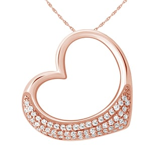 Rosetone Sterling Silver 1/5ct TDW Diamond Heart Pendant (H-I, I2-I3) by Ever One