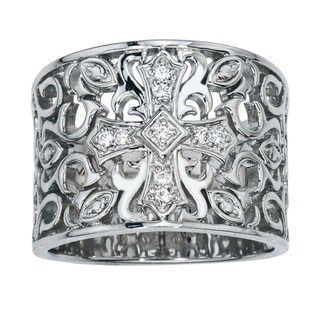 Sterling Silver Diamond Wide Band by Ever One