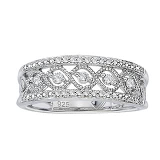 .925 Sterling Silver 1/5ct TDW Diamond Antique Band by Ever One|https://ak1.ostkcdn.com/images/products/13024928/P19766670.jpg?impolicy=medium