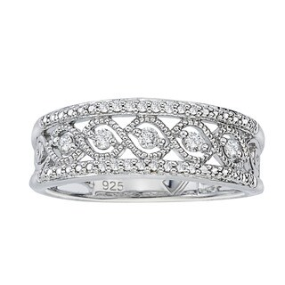 .925 Sterling Silver 1/5ct TDW Diamond Antique Band by Ever One (5 options available)
