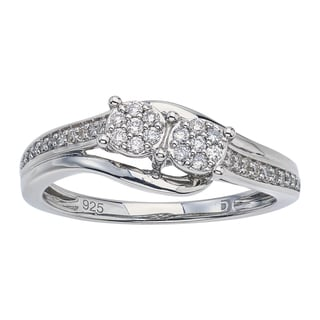Diamond Two-stone Promise Ring in Sterling Silver (IJ I2-I3) by Ever One