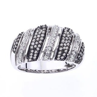 Sterling Silver 1/2ct TDW Diamond Striped Band by Ever One