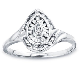 10k White Gold 1/4ct TDW Diamond Tear Drop Ring by Ever One