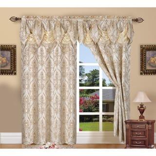 Elegant Comfort Luxury Penelopie Jacquard 84-inch length Window Curtain Panel Pair
