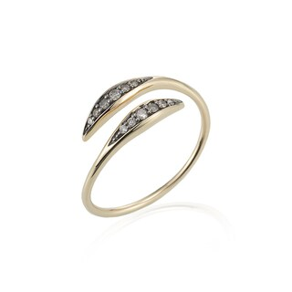 14k Yellow Gold Diamond Accented Bypass Ring by Ever One