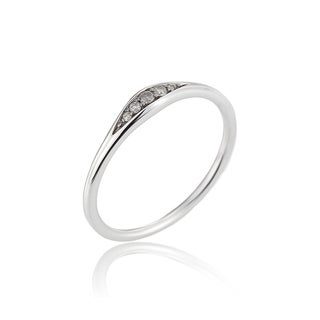 14k White Gold Diamond Accent Tapered Ring by Ever One