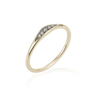 14k Yellow Gold Diamond Accented Tapered Ring by Ever One