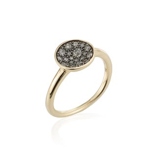14k Yellow Gold 0.38cts TDW Silvermist Diamond Concave Ring by Ever One
