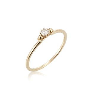 14k Yellow Gold Diamond Accent Solitaire Ring by Ever One
