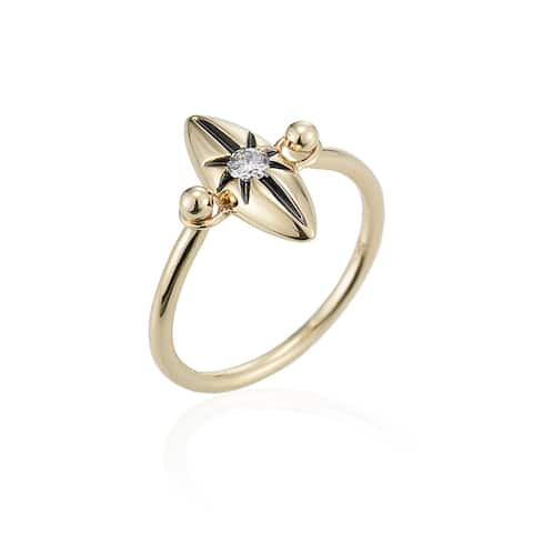 14k Yellow Gold Diamond Marquise Star Ring by Ever One