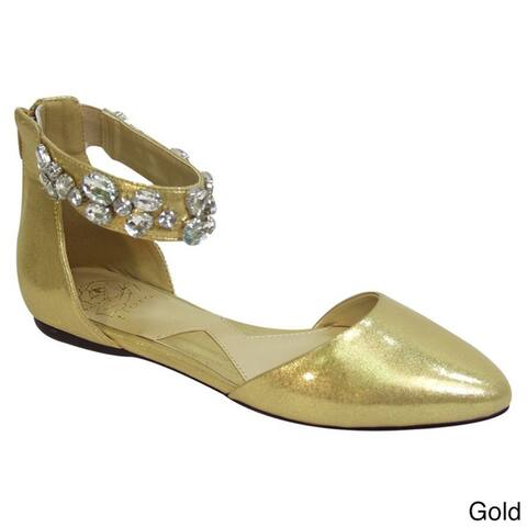 FUZZY Jill Women Extra Wide Width Open Shank Ankle Strap Casual Flats