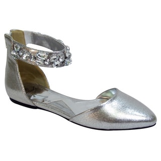 Fic Fuzzy Women's Jill Black, Gold, Grey, and Silver Rubber and Synthetic Extra Wide Open Shank Ankle Casual Flats