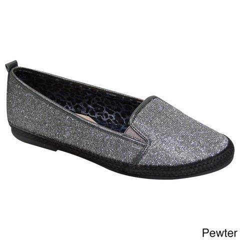 Fic Fuzzy Women's Metallic Fabric Extra-wide Casual Slip-on Loafers