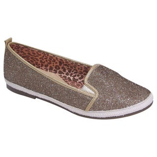 Fic Fuzzy Women's Metallic Fabric Extra-wide Casual Slip-on Loafers (As Is Item)