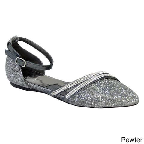 FUZZY Hallie Women's Extra Wide Pointed Toe Ankle Strap Dress Flats