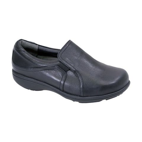 FIC Womens Peerage Therese Leather Adjustable Extra Wide Width Comfort Loafer for Everyday