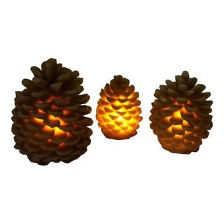Rivers Edge Products Brown and Gold LED Pinecone Candles (Pack of 3)