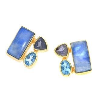 Sterling Silver Blue Moonstone Blue Topaz Purple Iolite Earrings by Ever One