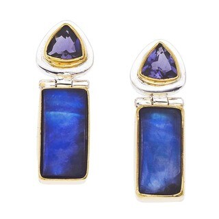 Blue Moonstone Silver Earrings by Ever One