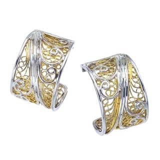 Sterling Silver and Gold Overlay Earrings by Ever One|https://ak1.ostkcdn.com/images/products/13025005/P19766720.jpg?impolicy=medium