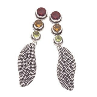 White Oxidized Sterling Silver and Gemstone Drop Earrings by Ever One