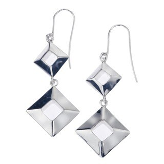 Sterling Silver Box Drop Earrings by Ever One