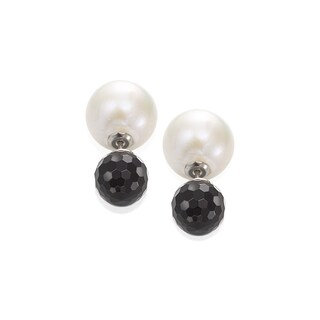 10K Gold White Freshwater Pearl and Onyx 360 Stud Earrings