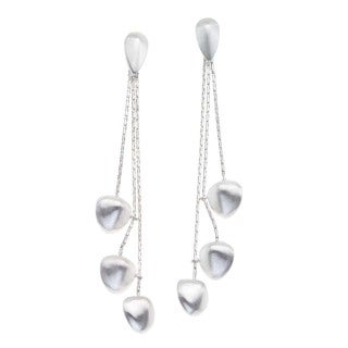 White Sterling Silver Drop Earrings by Ever One