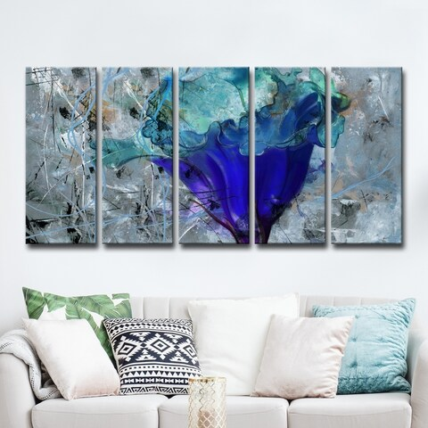 Ready2HangArt 5-Piece 'Painted Petals LX' Canvas Art Set - Blue