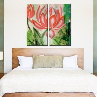 Ready2HangArt 2 Piece 'Painted Petals LIII' Canvas Art Set