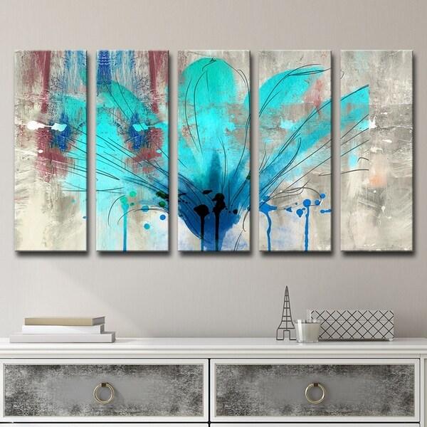 23a15ec5ff696 Shop Ready2HangArt 'Painted Petals LII' 5-Piece Canvas Wall Art Set ...