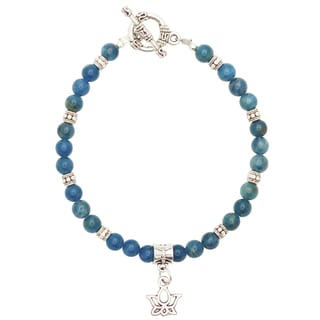Healing Stones for You Apatite Bracelet with Lotus Charm