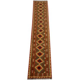 Herat Oriental Afghan Hand-woven Vegetable Dye Tribal Wool Mimana Kilim Runner (2'6 x 12'10)
