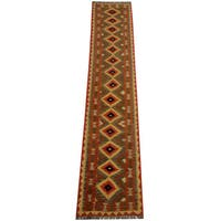 Herat Oriental Afghan Hand-woven Vegetable Dye Tribal Wool Mimana Kilim Runner (2'6 x 12'10)