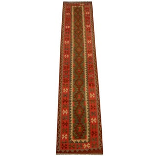 Herat Oriental Afghan Hand-woven Tribal Vegetable Dye Wool Mimana Kilim Runner (2'8 x 12'11)