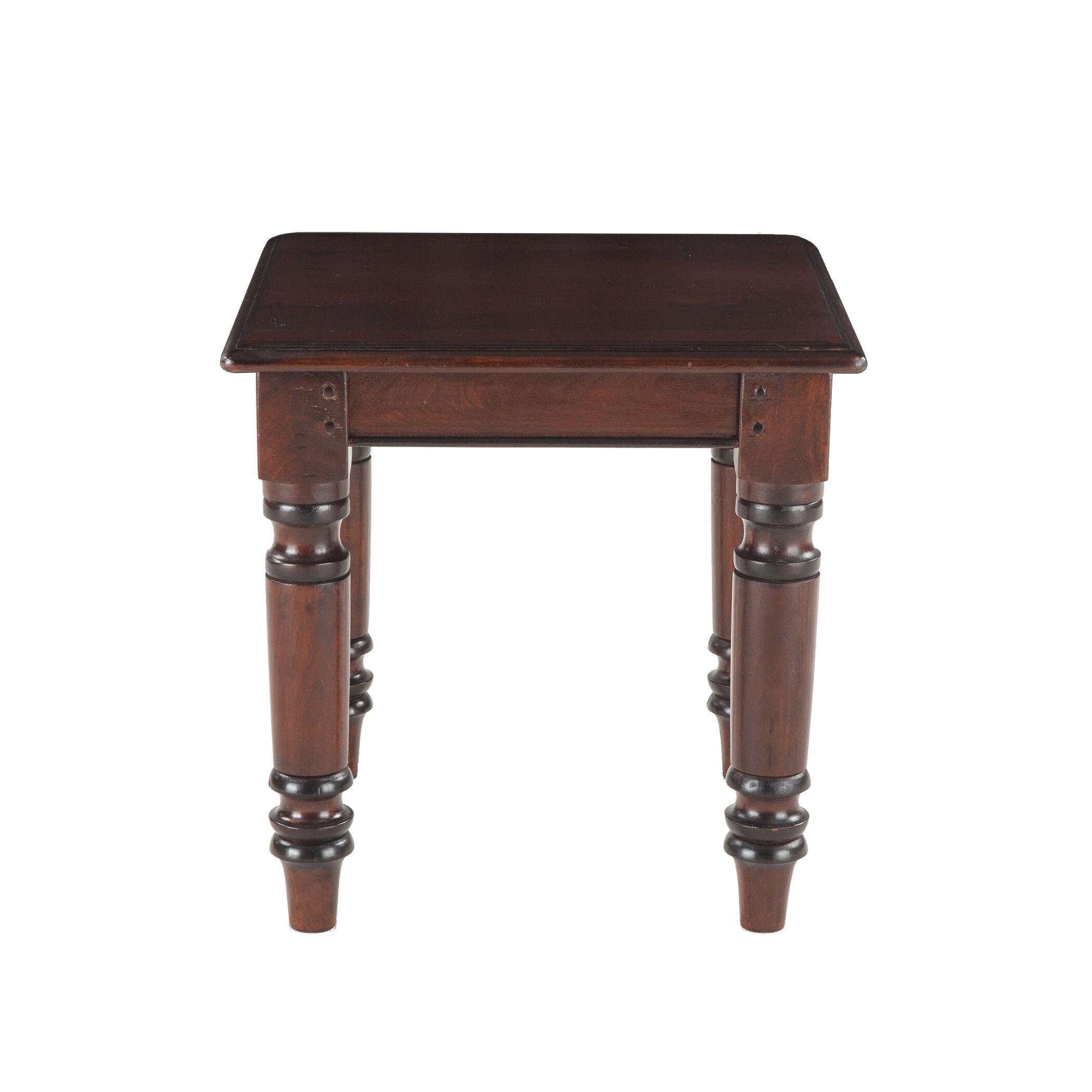 Briva Brown Mango Wood Square Side Table (European Rustic...