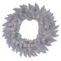 """36"""" Pre-Lit Sparkle White Spruce Artificial Christmas Wreath - Clear Lights"""