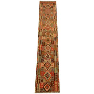 Herat Oriental Afghan Hand-woven Tribal Vegetable Dye Wool Mimana Kilim Runner (2'5 x 12'9)