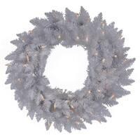 "24"" Pre-Lit Sparkle White Spruce Christmas Wreath - Pure White LED Lights"