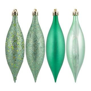 Seafoam Green Plastic 5.5-inch 4-finish Assorted Ornaments (Pack of 8)