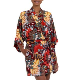 Handcrafted Rayon 'Brush Fire' Short Batik Robe (Indonesia)
