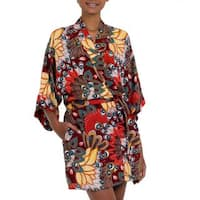 Handmade Rayon 'Brush Fire' Short Batik Robe (Indonesia)