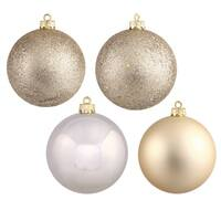 Champagne Plastic 4-inch Ornaments in 4 Assorted Finishes (Pack of 12)