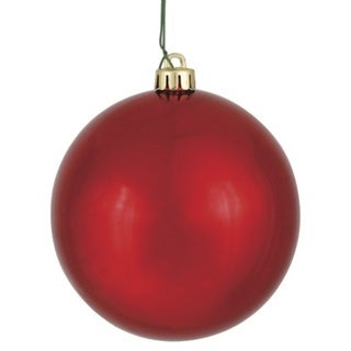 Red Plastic 4-inch Shiny Ball Ornament (Pack of 6)