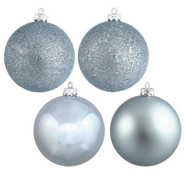 Shop 4-finished Baby Blue Plastic 3-inch Assorted Ball Ornaments (Case of 16) - Free Shipping On Orders Over $45 - Overstock - 13025196