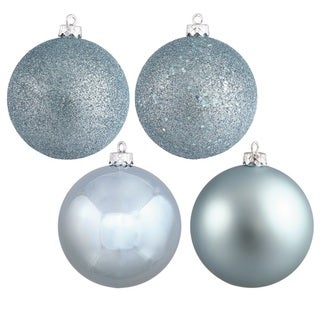 4-finished Baby Blue Plastic 3-inch Assorted Ball Ornaments (Case of 16)